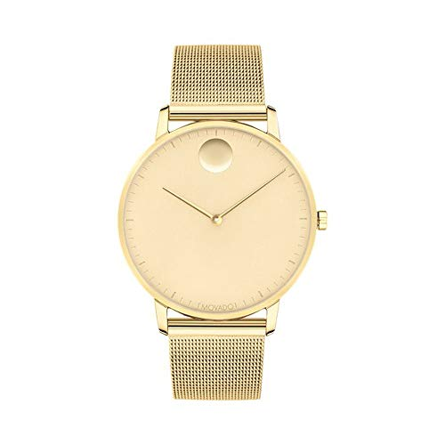 Movado FACE Pale Yellow Stainless Steel Case, Mesh Bracelet, Gold-Toned Dial, Men, 3640007 (Gold Movado Bracelet)