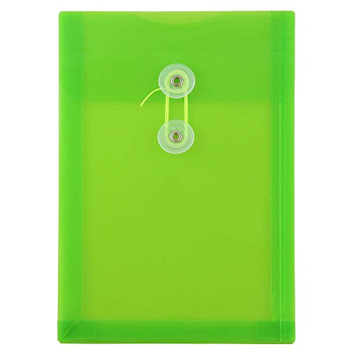 JAM PAPER Plastic Envelopes with Button & String Tie Closure - 6 1/4 x 9 1/4 - Lime Green - 12/Pack