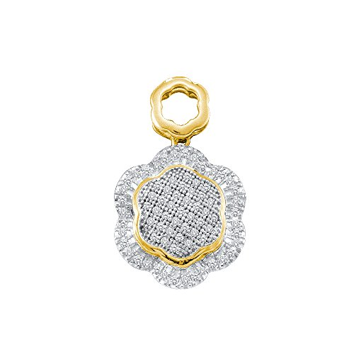 Diamond Flower Drop Necklace (10K Yellow and Pink Two Tone Gold Dangle Drop Flower Micro Pave Set Round Diamond Pendant - (1/4 cttw))