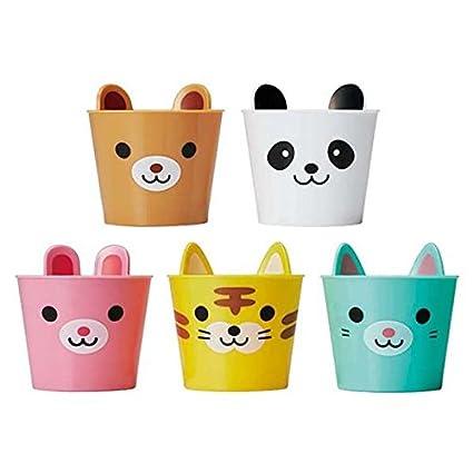 Torune Set de 5 vasos de plástico de colores con animales