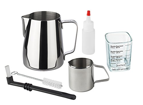 [JOEFREX] Barista Tool Set for Home & Professional in a nice gift box Include 1 pcs. of each: Milk Pitcher 12oz, Milk Jug 3oz, Shotglass measuring singel and double shot by [JOEFREX]