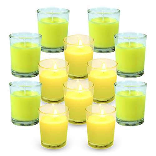 (Scentorini Votive Citronella Candles, Aromatherapy Soy Wax Scented Candles Gift Set, to Scare Away Mosquito, Bug and Flies, for Outdoor/Indoor Use, 12 Pack, Clear Glass)