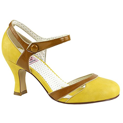 Flap Couture Pinup-27 Damen Retro Pumps In Ecopelle Giallo-tan