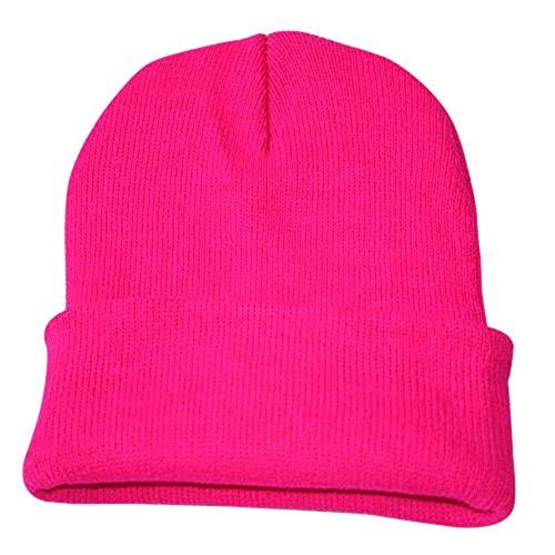 New Women Hats for Winter,Teen Girls Warm Wool Snow Ski Skull Soft Beanie Cap Headgear Knit Berets Headbands Outdoor Pink