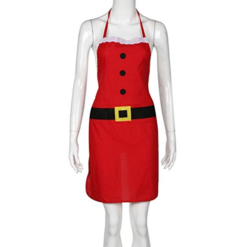 Iuhan Christmas Decoration Santa Apron Home Kitchen Cooking Baking Chef Red Apron (Christmas Party Ideas For Teens)