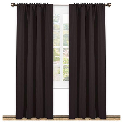 NICETOWN 84 Bedroom Curtains and Drapes - Energy Smart Thermal Insulated Solid Rod Pocket Blackout Draperies/Panels for Living Room (2 Panels,42-Inch x 84-Inch,Toffee Brown)