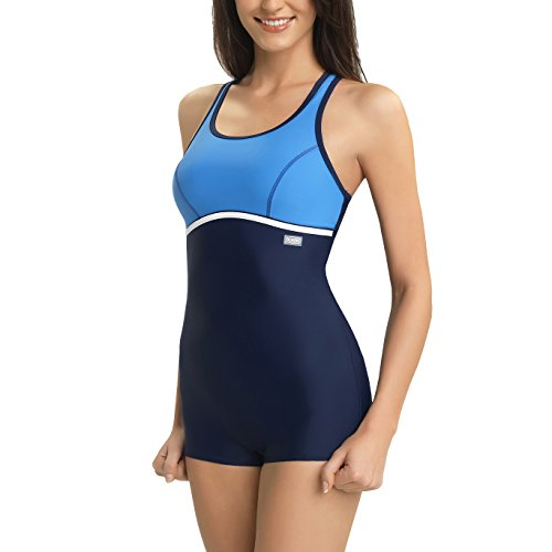 Leg Unitard - Gwinner Women's Ines Boyleg One Piece Racerback Athletic Swimsuit - S - navy/blue