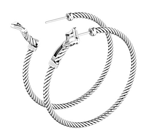 Designer Inspired 14K White Gold Plated Large 44 x 44mm Cable Classics Hoop Earrings