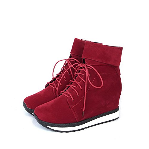 Frosted Round Solid Red Closed up Women's Heels Allhqfashion Toe Lace Boots High 0ZwqSqx6