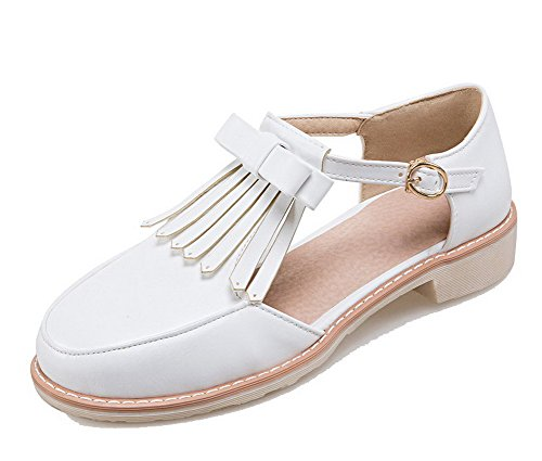 Women Mini Buckle Pu Toe Living Round Aalardom Room Solid White Heel pqUSMVGz