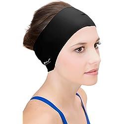 Sync Hair Guard & Ear Guard Headband - Wear Under Swim Caps as Water Repellent Black