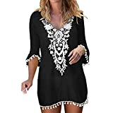 Forthery-Women Crochet Chiffon Tassel Swimsuit Bikini Pom Pom Trim Swimwear Beach Cover Up(Black,Medium(US-6)