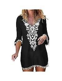 BeautyVan mini vestido de encaje de crochet con pompones y borlas para cubrir la playa, Negro, L, 1