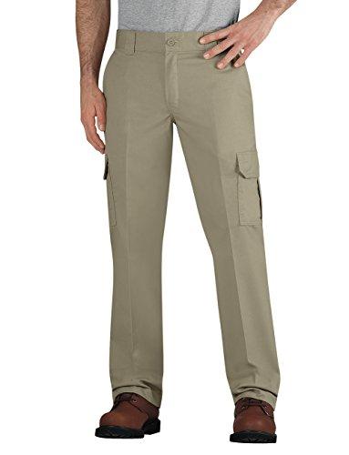 Dickies Men's Flex Slim Fit Straight Leg Winkle Resistant Cargo Pants, Desert Sand, 42 x 32