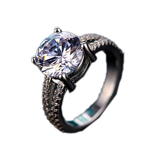 Fashion Luxury Silver Zirconia Crown Ring Women's Wedding Party AAA Zircon Crystal Ring Romantic Jewelry,7,ZL0000026 - Pave Tiffany Style