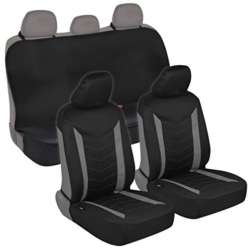 Superior Protectorate - Neoprene Car Seat Covers - Black & Gray Two Tone Chevron Stitched Premium Waterproof Automotive Seat Protectors Multi-Layer Material for Interior Fit