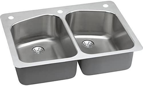 Elkay LKHSR33229PD1 Lustertone Classic Equal Double Bowl Dual Mount Stainless Steel Sink with Perfect Drain