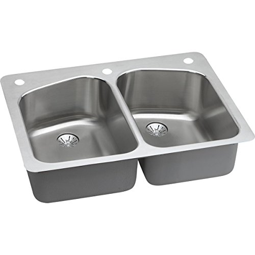 Elkay LKHSR33229PD2L Lustertone Classic Equal Double Bowl Dual Mount Stainless Steel Sink with Perfect Drain
