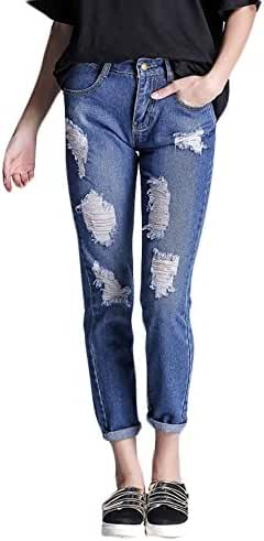 Plaid&Plain Women's Casual Ripped Distressed Pants Loose-fit Stretch Jeans