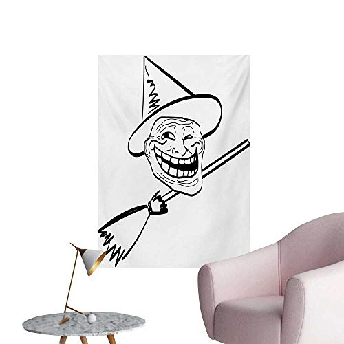 Anzhutwelve Humor Wall Sticker Decals Halloween Spirit Themed Witch Guy Meme LOL Joy Spooky Avatar Artful Image PrintBlack and White W32 xL36 Wall Poster]()
