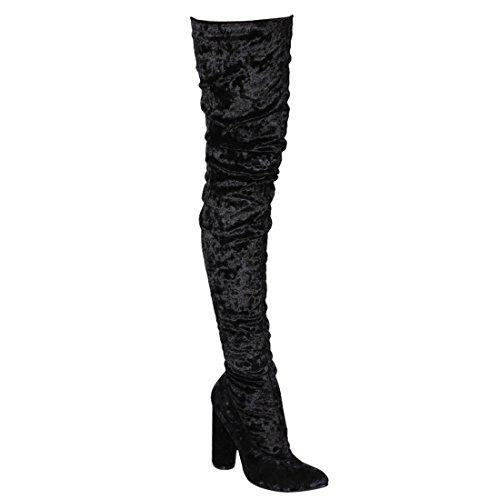 Cape Robbin Gd80 Womens Snug Fit Inside Zip Stretchy Blok Hak Dij Hoge Laars Zwart