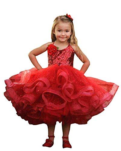Magicdress Short Beauty Pageant Dresses Red Sequin Flower Girls Ball Gowns]()