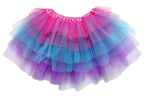 So Sydney Adult Plus Kids Size 6 Layer Fairy Tutu Skirt Halloween Costume Dress (L (Adult Size), Hot Pink Neon Blue Purple)