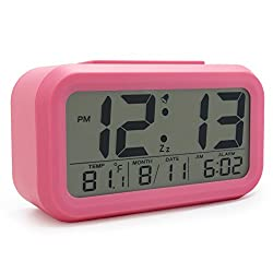 JCC Smart Light Sensor Automaticm Soft Light Large Numbers LCD Digital Snooze Alarm Clock with Ascending Wake Up Alarm, Snooze, Date and Temperature Display (°C/°F) , Battery Operated (Pink)