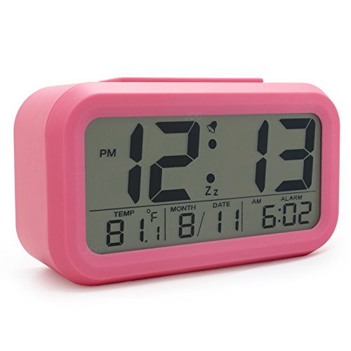 - JCC Smart Light Sensor Automaticm Soft Light Large Numbers LCD Digital Snooze Alarm Clock with Ascending Wake Up Alarm, Snooze, Date and Temperature Display (°C/°F) , Battery Operated (Pink)