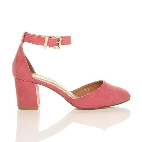 Damen Mitte Blockabsatz Knöchelriemen Schnalle Elegant Pumps Sandalen Größe Korallenrosa Wildleder