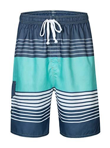 Clothin Men's Boardshort Swim Trunks Beach Quick Dry Swimming Shorts(Blue(Elastic) 38)