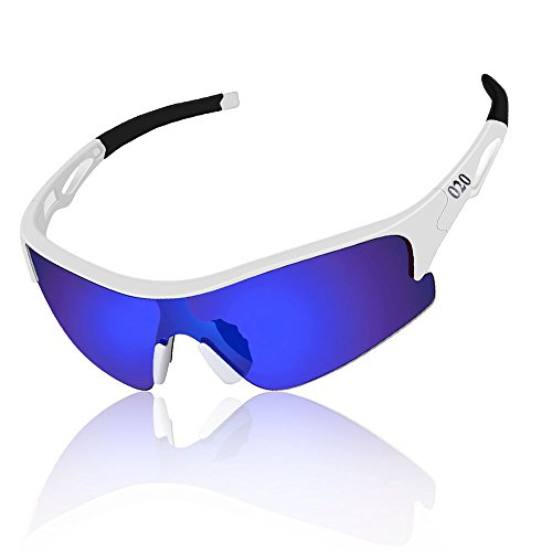 O2O Polarized Sports Sunglasses for Men Women Teens Running Driving Golf Durable Frame (White, - Germany Sunglasses