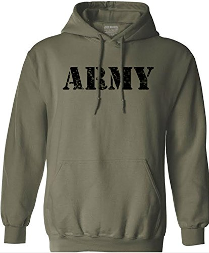 - Joe's USA tm Vintage Army Logo - Green Hooded Sweatshirt-XL