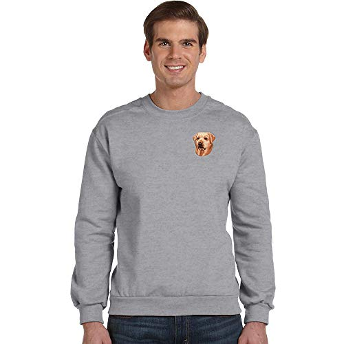 Cherrybrook Breed Embroidered Anvil Mens Crew Sweatshirt - XXX-Large - Heather Gray - Labrador Retriever