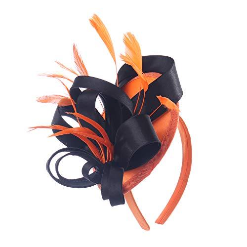 (Felizhouse Fascinator Hats Women Ladies Feather Cocktail Party Hats Bridal Headpieces Kentucky Derby Ascot Fascinator Headband, #1 Satin Orange Black, One Size)