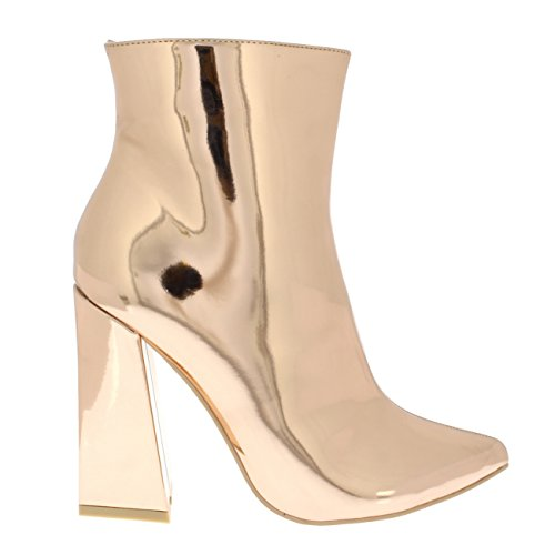 Ankle Viva Heels Heel Shiny Sassy Fashion Womens Block Mirror Chic Rose Gold Mid Boots Elegant rpXr8qxw