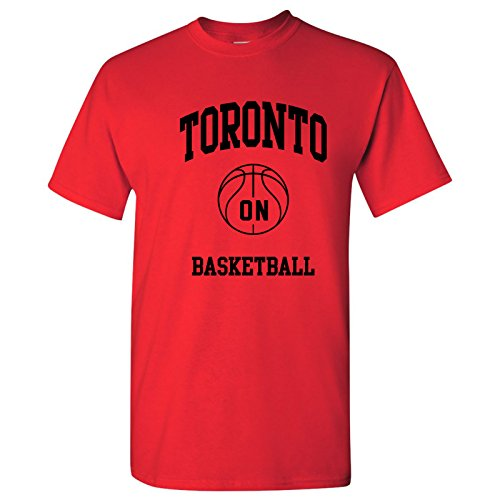 (Toronto Classic Basketball Arch Basic Cotton T-Shirt - X-Large - Red)