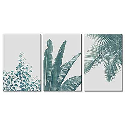Created By a Professional Artist, Amazing Object of Art, 3 Panel Retro Style Green Tropical Leaves x 3 Panels