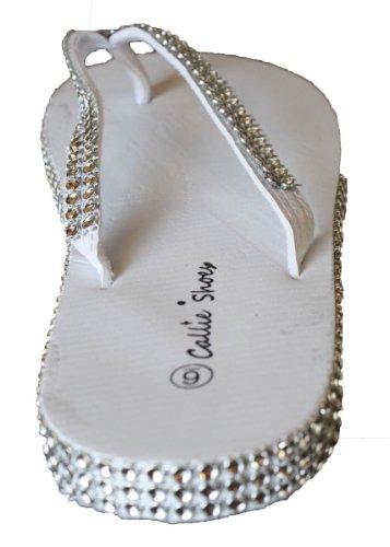 Sparkling Rhinestones with Flip White LA Flop Around Womens and Straps BEUATY EYZ1Pnxq