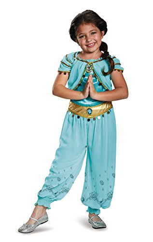 [Disguise Jasmine Prestige Disney Princess Aladdin Costume, X-Small/3T-4T] (Halloween Jasmine Costume)