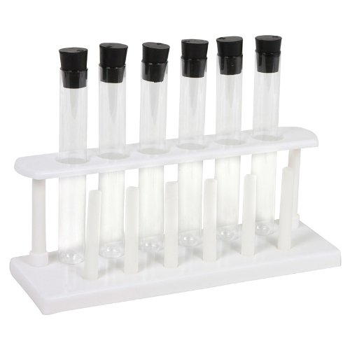 6 Piece Pyrex Glass Test Tube Set with Caps and Rack
