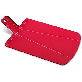 Joseph Joseph 60042 Chop2Pot Foldable Plastic Cutting Board 19-inch x 10.75-inch Chopping Board Kitchen Prep Mat with Non-Slip Feet 4-inch Handle Dishwasher Safe Lays Flat Folds Up, Large, Red