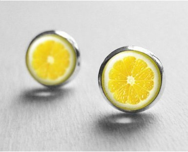 Lemon Slice Earrings, Tiny Stud Earrings, Citrine Earrings, Fruit Earrings, Stud Earings, Cute Earrings, Best Friend Gift