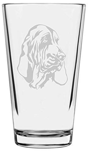 Bloodhound Dog Themed Etched All Purpose 16oz Libbey Pint Glass