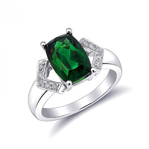 - Precious Stars 18K White Gold 3.09ct TGW Chrome Tourmaline White Diamond One a-Kind Ring