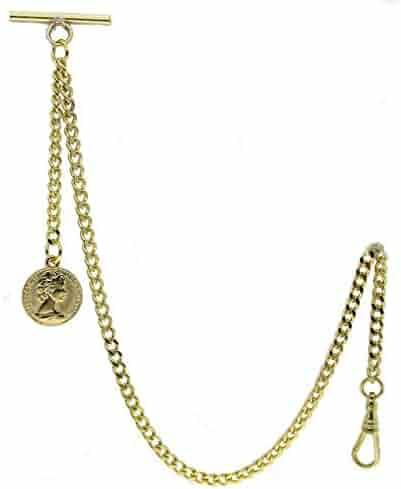 Gold Albert Chain Pocket Watch Curb Link Chain Fob T Bar + Swivel Clip + Half Penny Coin Design Medal Fob AC79