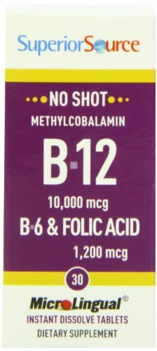 Tablets 30 Folic Acid (Superior Source No Shot Methylcobalamin Vitamin B12/B-6/Folic Acid Tablets, 10,000 mcg/1200 mcg, 30 Count (Pack of 3))