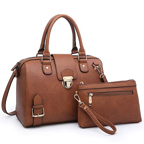 Dasein Women Barrel Handbags Purses Fashion Satchel Bags Top Handle Shoulder Bags Vegan Leather Work Bag Tote (Coffee) (Handle Leather Top Purse)