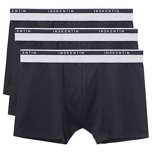 Inskentin Men's Comfortable Cotton Stretch Trunks Tagless Ultra Soft Low Rise Underwear for Men Black Medium 3 Pack ()