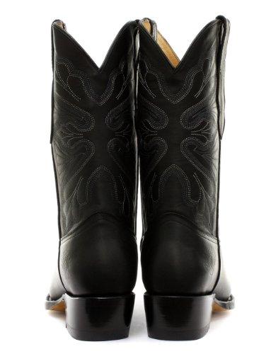 Slipmaskiner Dallas Svarta Kvinnor Cowboystövlar Fet Helt Svart